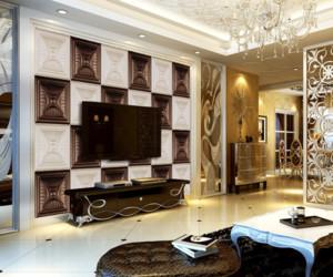 90平米欧式软包客厅电视背景墙装修效果图