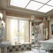 现代室内卫生间窗帘图