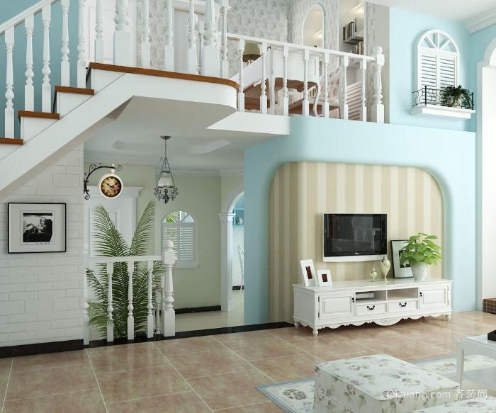 全新地中海风格复式楼客厅装修效果图