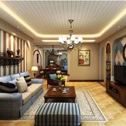 地中海风格客厅装修吊灯图