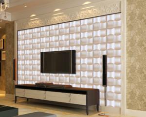 70平米欧式3D软包客厅电视背景墙装修效果图