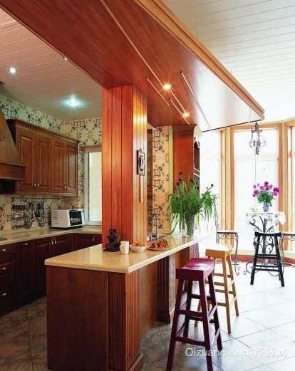新中式优雅开放式厨房装修设计效果图