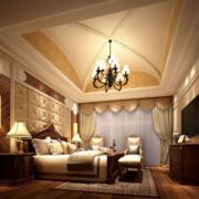 卧室床头背景墙装修吊顶图