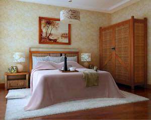 90平米东南亚时尚壁画卧室装修效果图