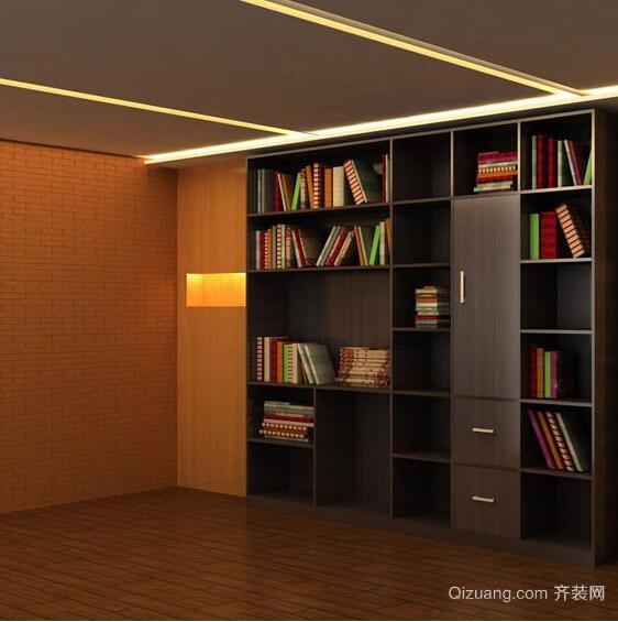 2015书香气十足的三居室书柜装修效果图