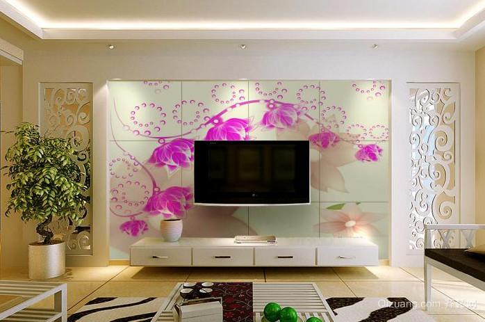 现代简约瓷砖3D客厅背景墙装修效果图