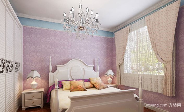 淡雅素净的韩式风格卧室背景墙装修效果图欣赏