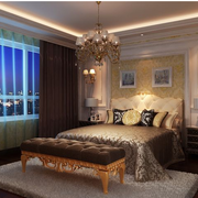 美式风格榻榻米装修卧室图