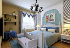 清爽怡人的地中海风格卧室背景墙装修效果图欣赏