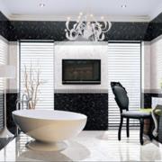 纯白色调浴室图