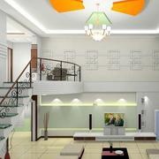 跃层式住宅客厅楼梯装修整体图