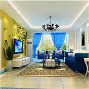 地中海风格窗帘装修客厅图