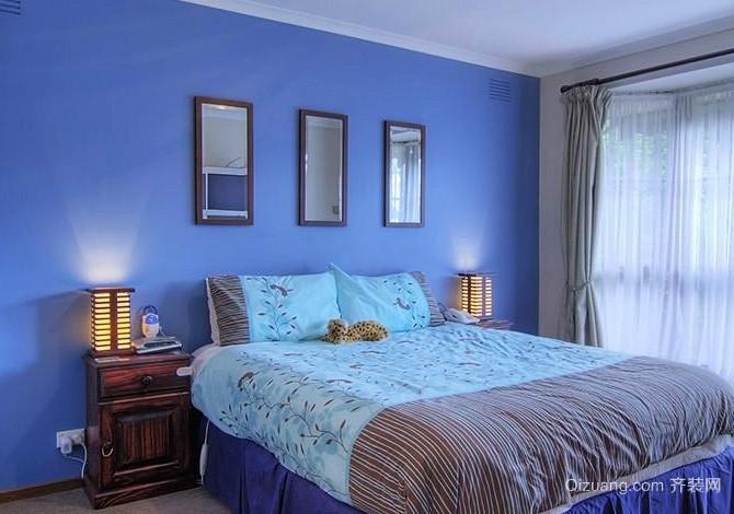 50平米蓝色梦幻主题卧室装修效果图