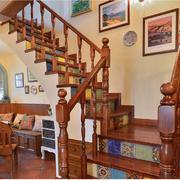 美式乡村风格楼梯装修背景墙图