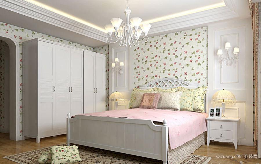 110平米素雅的韩式风格卧室背景墙装修图片鉴赏
