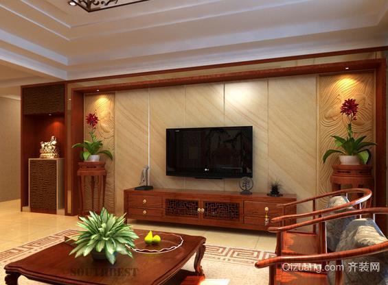 典雅的中式家装电视背景墙装修效果图片