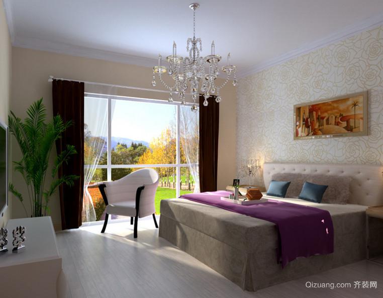2015大户型简约的卧室背景墙装修图片鉴赏