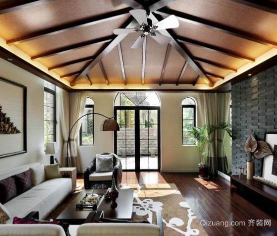 别具一格的东南亚风格别墅客厅吊顶装修设计效果图