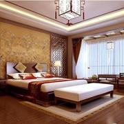 中式风格卧室壁纸装修隔断图