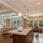 美式风格厨房装修吊顶图