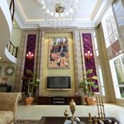 别墅客厅窗帘造型图