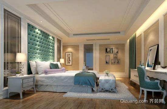 20平米地中海风格卧室床头软包背景墙装修效果图