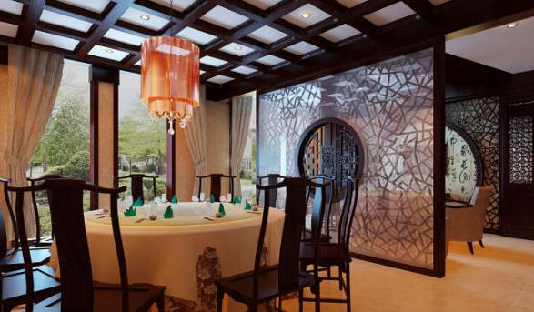 复古中式风格餐厅 屏风隔断 装修 效果图