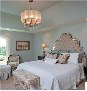 美式乡村别墅卧室壁纸装修效果图