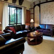 别墅客厅窗帘飘窗图