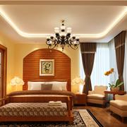 美式乡村风格卧室壁纸装修灯光设计