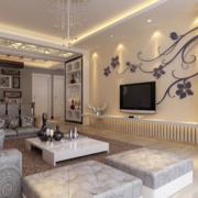 现代简约客厅电视背景墙装修灯光设计