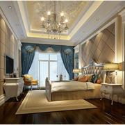 欧式风格卧室壁纸装修吊灯图