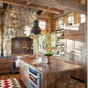 美式田园风格厨房装修整体图