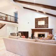 跃层式住宅客厅楼梯装修扶手图