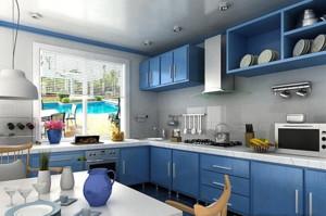 自然清新地中海风格L型厨房装修效果图