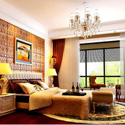 中式风格卧室壁纸装修吊顶图