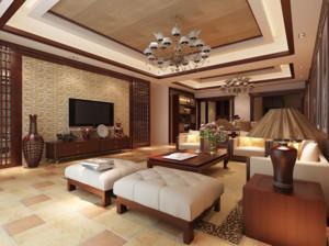 70平米东南亚风情客厅吊顶装修效果图