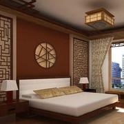 中式主卧吊顶装修背景墙图
