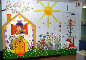 如同天堂一般的现代幼儿园手绘墙效果图