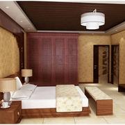 中式风格卧室壁纸装修造型图