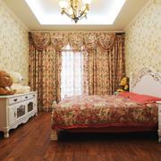 美式乡村风格卧室壁纸装修背景墙