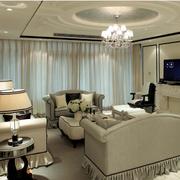 欧式客厅装修窗帘图