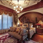 地中海风格卧室壁纸装修窗帘图