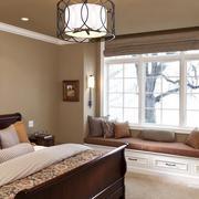 跃层式住宅卧室飘窗装修吊顶图
