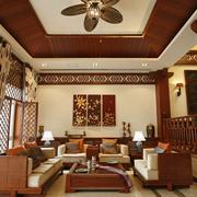 东南亚风格卧室壁纸装修吊顶图
