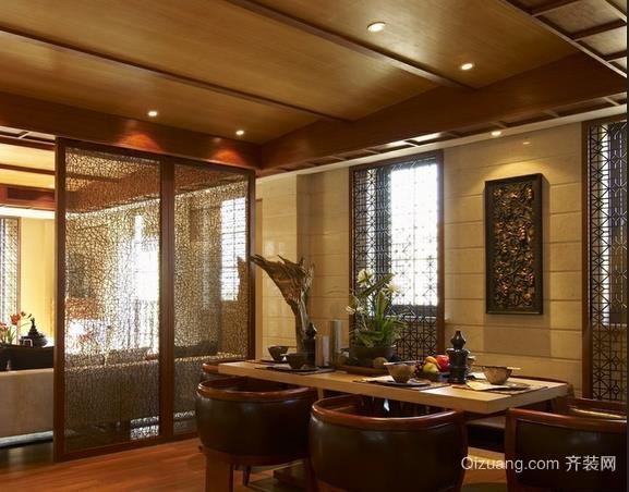 复古中式风格餐厅屏风隔断装修效果图