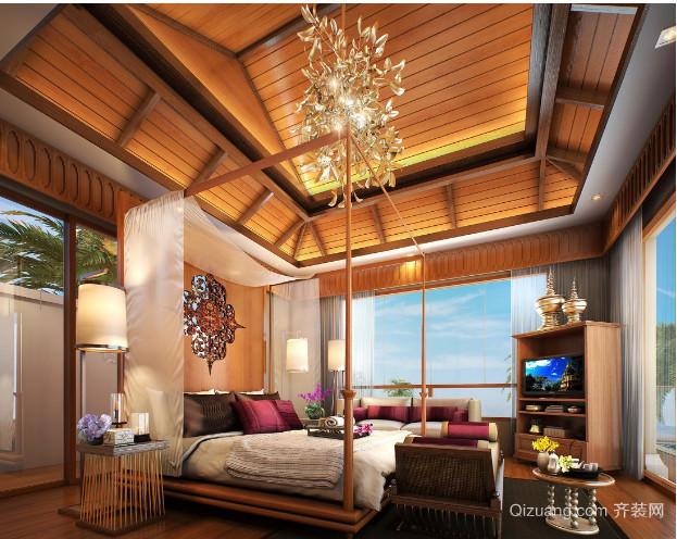 东南亚别墅卧室壁纸装修效果图