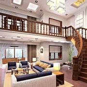 跃层式住宅客厅楼梯装修吊顶图