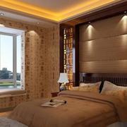 中式风格卧室壁纸装修效果图