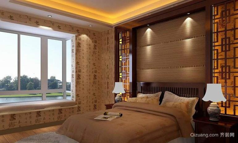 中式别墅卧室壁纸装修效果图